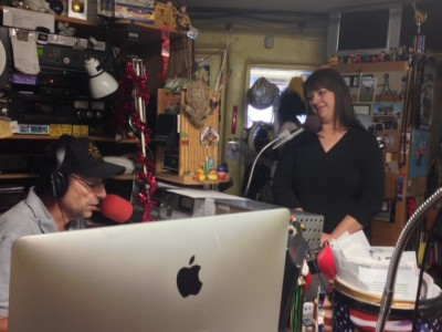 Co-owner of Bruno's Pizza and Wings, Mandy Hess, visits with Billy D at KRTN.