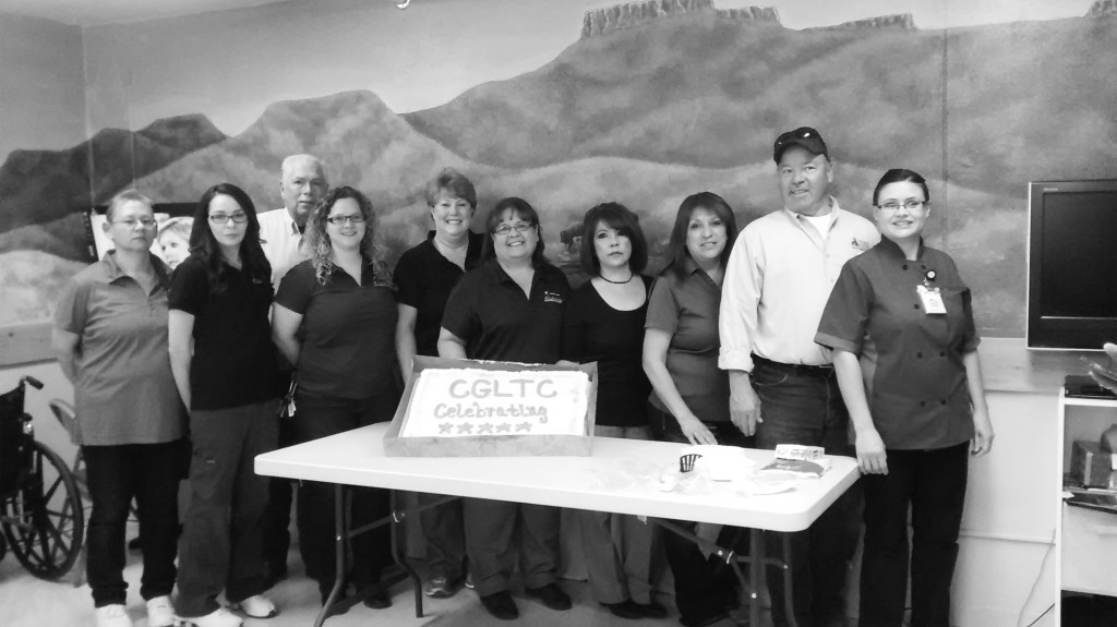 The Springer Chamber of Commerce recognized Colfax General Long Term Care this month.  Pictured here from left to right are: Tammy Martinez, Amanda Martinez, Bill Norris, Kaycee Sandoval, Trisha Kenney, Agnes Mares, Elaine Chavez, Sandra Salazar, Andres Ebell, and Teresa Vigil.  Photo by Sherry Goodyear.