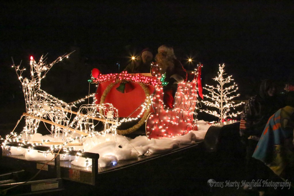 This float featured a live Santa