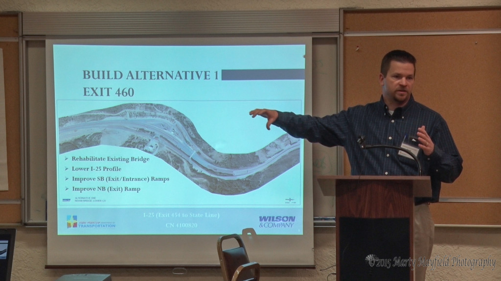 Derek Meier explains what work will be done in the first plan at Exit 460 on I-25. More specifically the work to be done on the bridge that crosses I-25 just north of the Port of Entry