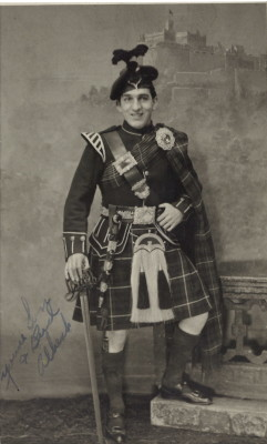 Al Manfredi had this photo taken of him wearing a kilt while on a five day leave in Edinburgh, Scotland, after he and his crew completed 25 successful strategic bombing missions.