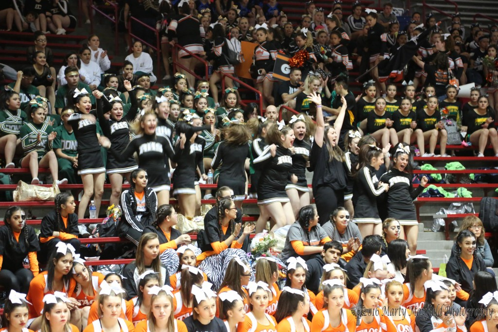 The cheers go up as the announcement was mad that Raton Cheer had won the Class 3A cheer competition