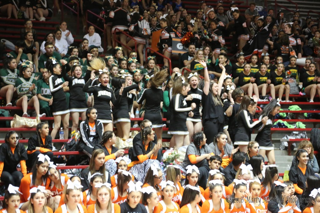 The faces say it all as the Raton Cheer squad celebrate their win at the NMAA State Spirit Competition Saturday in Wise Pies Arena, aka The Pit