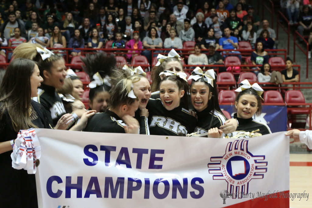 The joy is evident on the faces of these girls as they celebrate the win at the State Spirit Competition