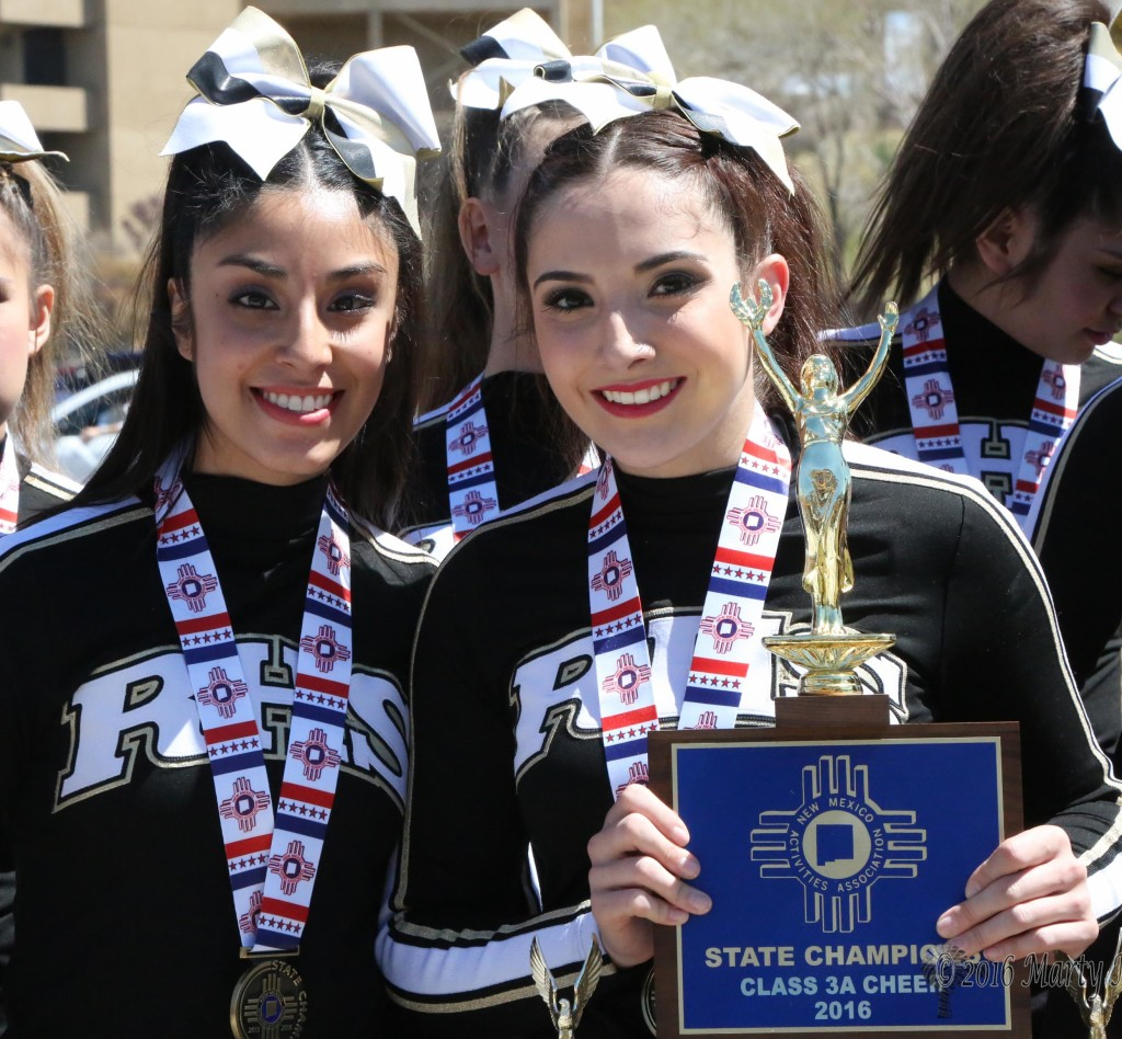 Seniors Nayelli Acosta and Alyssa Aragon. Aragon told KRTN that she really felt good about things after the first day of competition. The underclass girls told their Senior captains at the state preview performance that they will be missed next year.