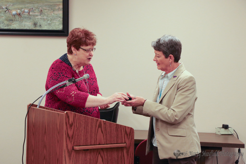 Mayor Sandra Mantz presented Adrianne Coleman with a token of appreciation for the hard work and effort she has put in for the You Rock Award program.