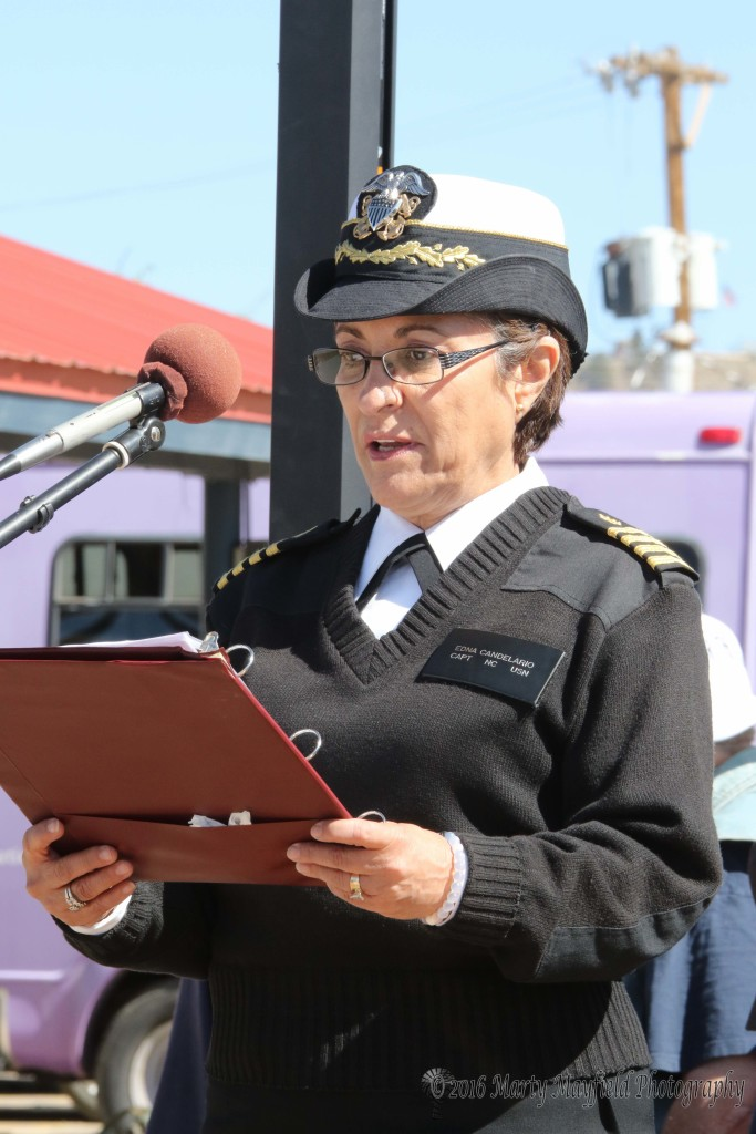 Captain Edna Candelario spoke about the role of women in the armed forces at the Run for the Wall gathering Saturday morning.