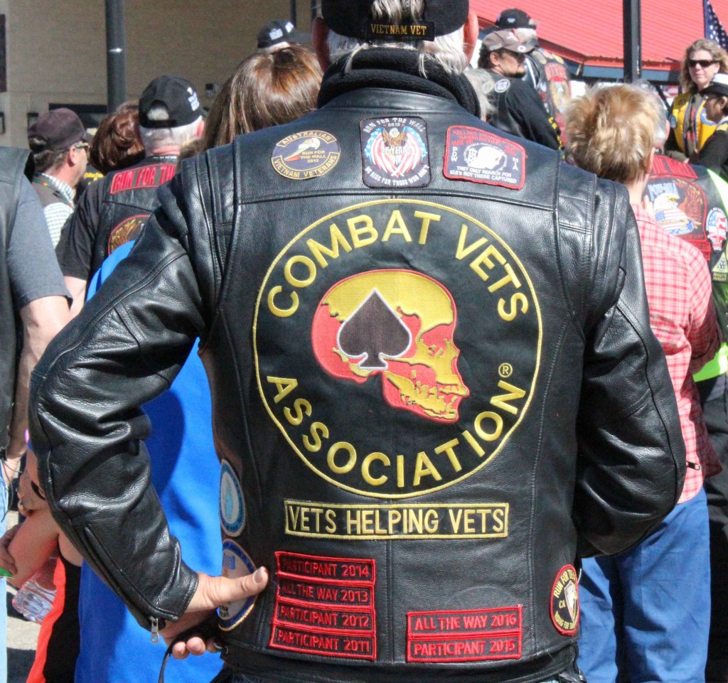 Patches adorn the leather vests and jackets of Run for the Wall participants