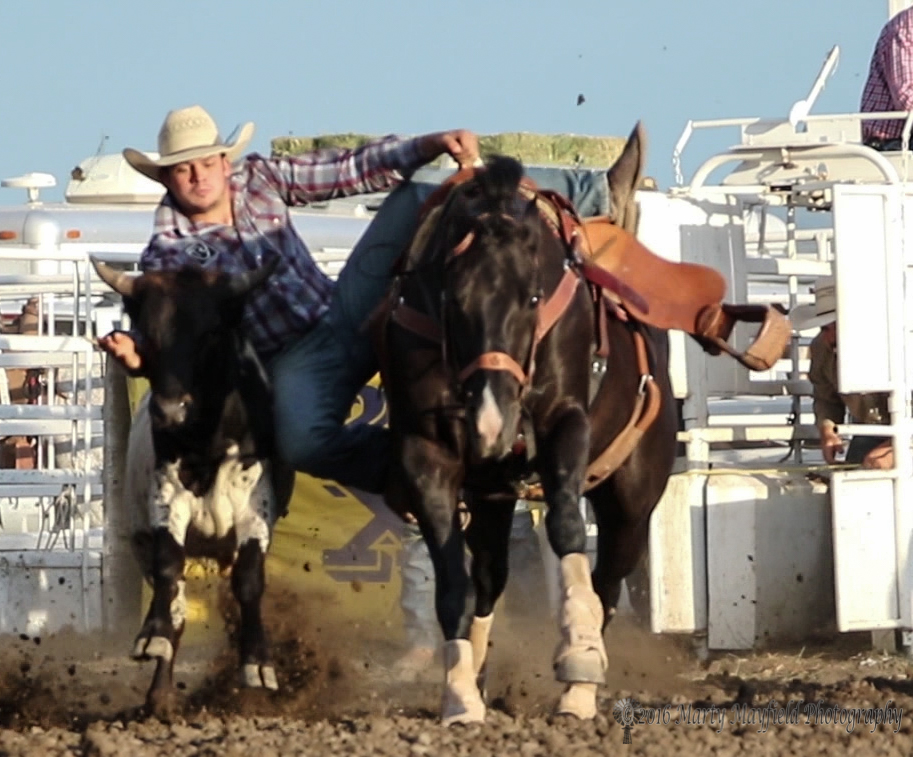Jake Trujillo makes a 4.6 second run to take the money in the steer wrestling at the Raton Rodeo.