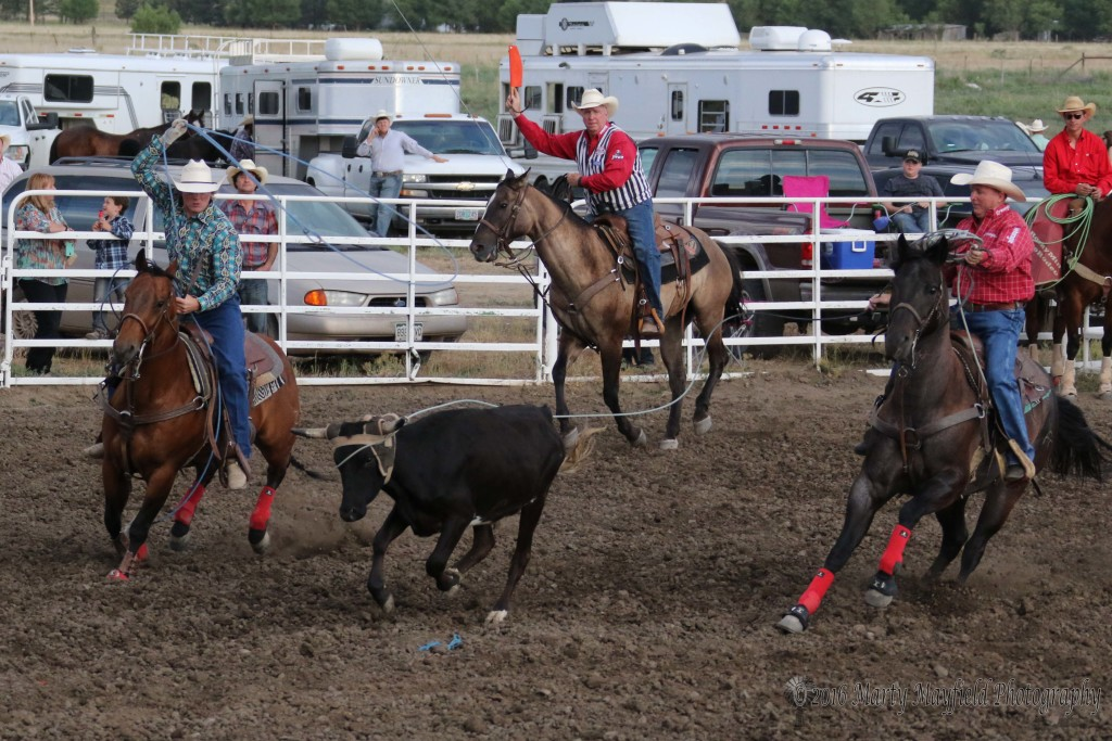 The team of J.D. Yates and Trey Yates showed em how its done with a 5.4 second catch in the Team Roping event Saturday evening at the Raton Rodeo