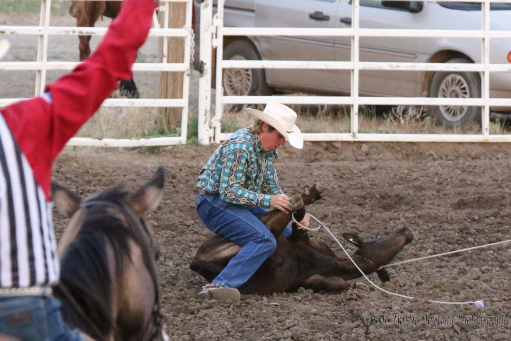 Trey Yates from Pueblo made a 10.3 second run on the calf to take first place Saturday evening, However it was Robert M from the slack performance that took the big money at the Raton Rodeo.