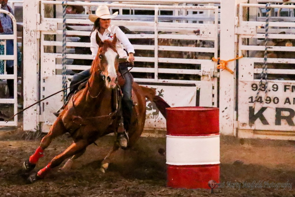 Shelby Spielman rounded the barrels in a blazing 16.88 seconds Saturday evening to put her in the big money in the Barrel Racing at Raton Rodeo.