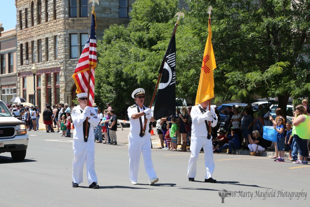 THE VFW Color Guard present the colors during the July 4th Parade on First Street Monday