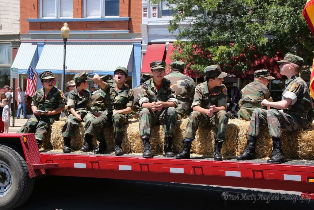 The Young Marines in the July 4th Parade chant marching cadence lead by Zoey Gomez