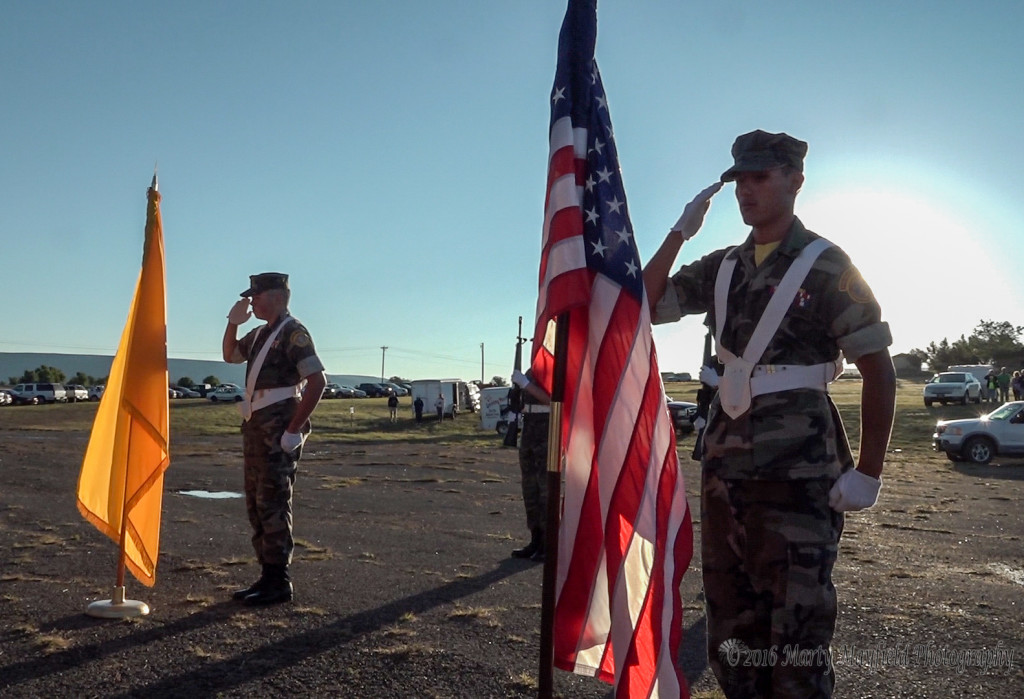 The Young Marines post the colors for the Monday edition of the 2016 International Santa Fe Trail Balloon Rally
