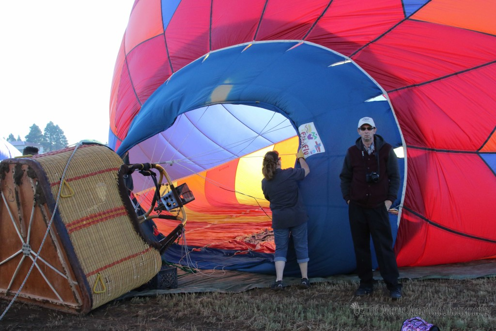 Frankie stands by as they inflate the Saki bomber at the 2016 International Santa Fe Trail Balloon Rally