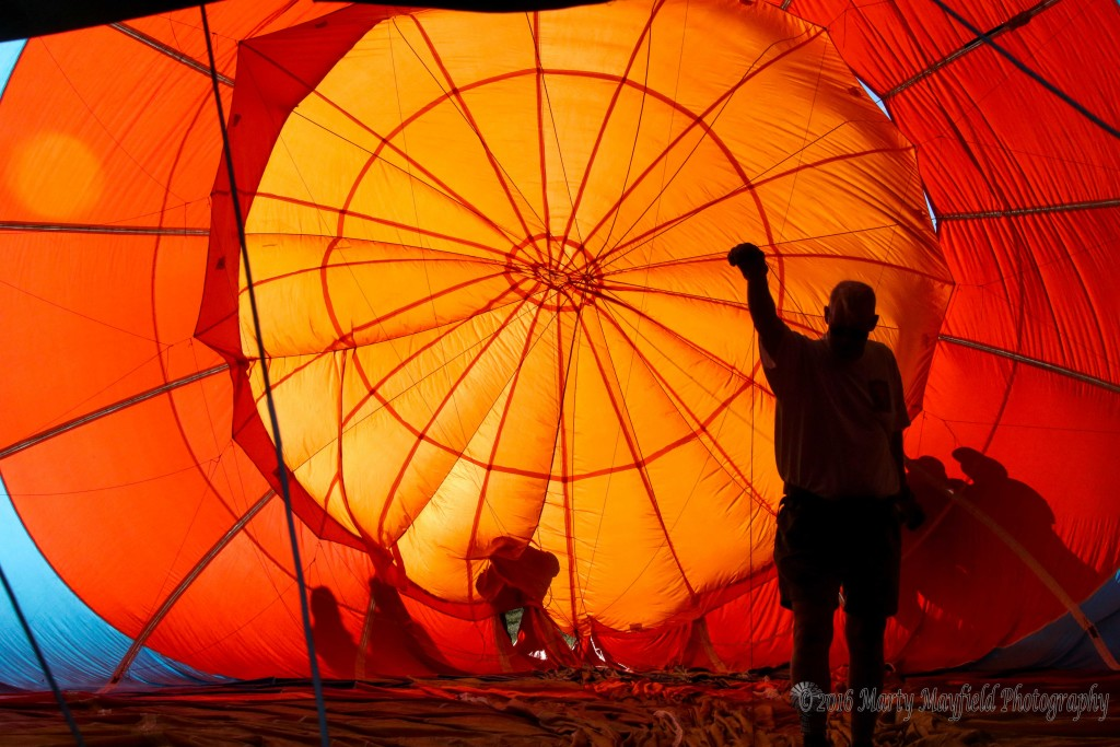A view from the inside Sunday morning during the 2016 International Santa Fe Trail Balloon Rally