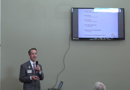 Shawn Lerch speaks to a small crowd Tuesday evening about some of the services that MCMC is looking at improving or bringing to Raton and the area.