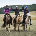 Three riders, including New Mexico's Marcia Hefker Miles, cross the line together to win the 2016 Mongol Derby! (Photo Credit:  Richard Dunwoody @Mongol Derby)