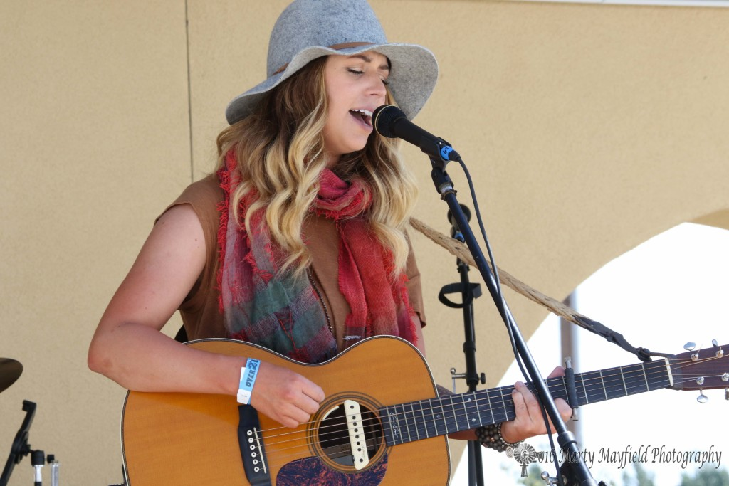 Kylie Rae Harris one of the singer/songwriters sang Sunday afternoon at the Gate City Music Festival