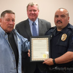 Sergeant Patrick Salazar received a proclamation honoring his many years of police service. Salazar plans to retire in March
