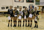RHS Volleyball Seniors were honored at the Homecoming game Saturday evening. L to R: Alina Pillmore, Sophia Madeleni, Montan Trujillo, Mariah Encinias, Heather Sandoval and Estrella Vargas.