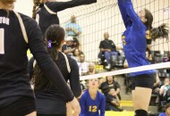 Carly Gonzales gets a tip on the ball as Alina Pilmore pushes the ball over the net Thursday evening in Tiger Gym