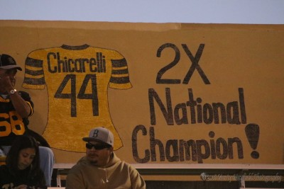 Mark Chicarelli was honored with a proclamation and his jersey on the wall of fame at Tiger Stadium Friday night.