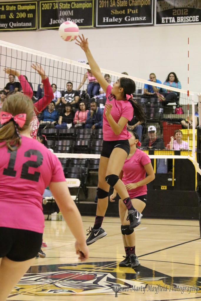 Autumn Archuleta makes the tip over the net during the district match with Pecos Saturday.