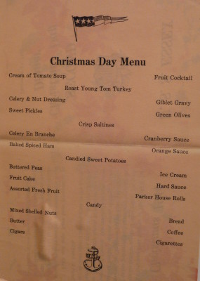 Christmas Day dinner menu for crew, December 25, 1944