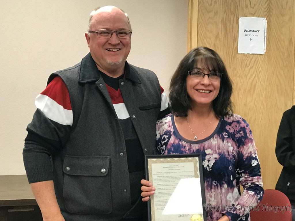Mayor Pro-Tem presented Chris Valentini a proclamation thanking her for her service to the city in not only her job at city hall but other volunteer efforts.