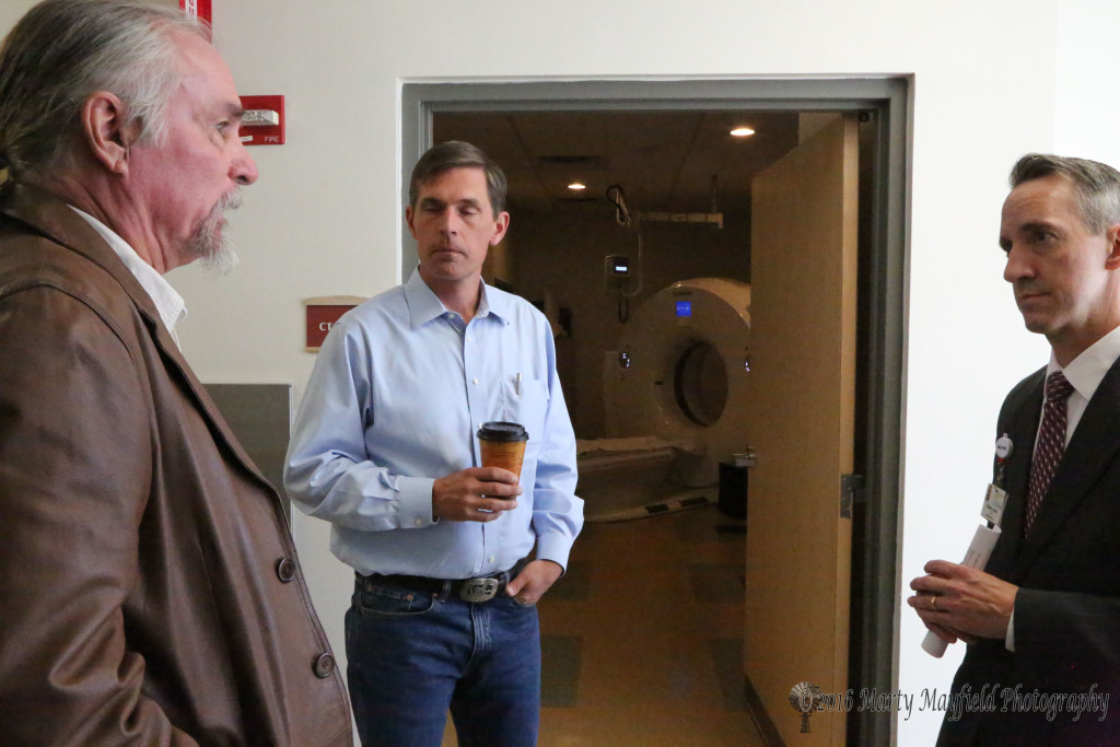 Miner's Colfax Medical Center can do many things as CEO Shaun Lerch shows Senator Heinrich where the new CT Scanner is located at the facility.