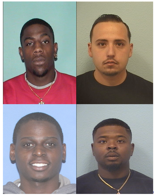 Top from left to right: Moses Dickens, Christopher Dominguez Bottom from left to right: Justin Harris, Antoine Mitchell