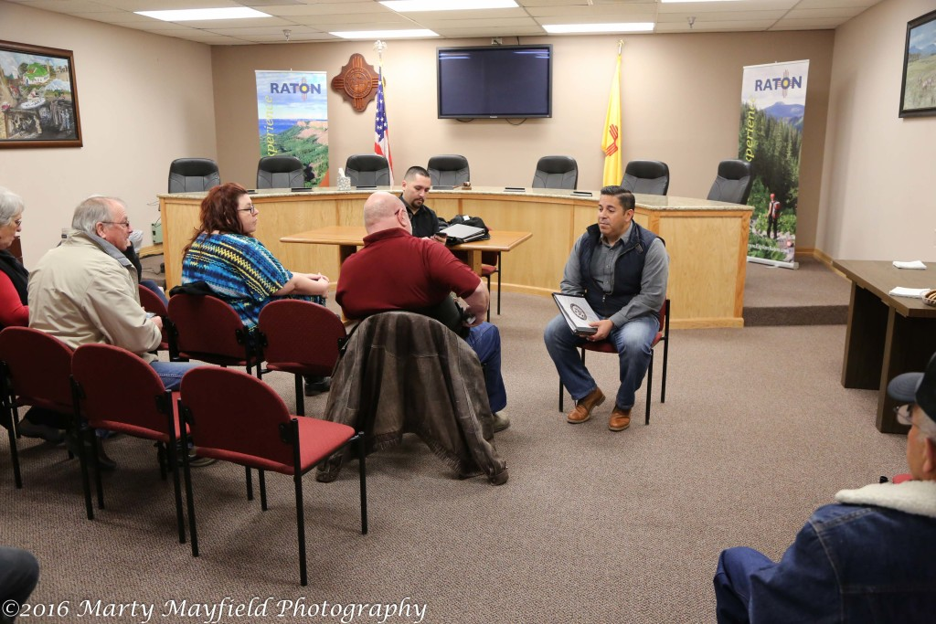 Congressman Ben Ray Lujan visits with a small crowd of Raton residents Thursday noon at Raton City Hall.