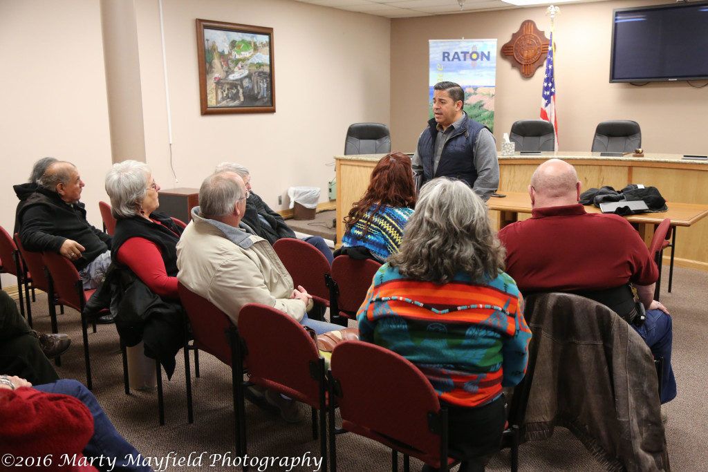 Congressman Ben Ray Lujan visit with a small crowd of Raton residents Thursday noon who voiced concerns over the affordable care act.