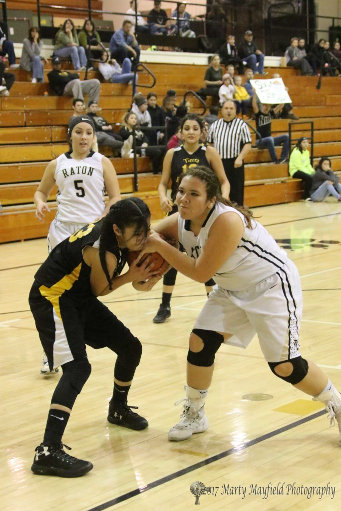 Yasmine Torres and Sydni Silva battle for possession of the ball late in the district tourney game Thursday evening in Tiger Gym
