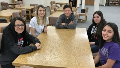 (L-R) Academic:  Natausha Ortega, Service: Camryn Mileta, Most Improved:  Michael Platero, 8th Grade:  Hayley Marquez and 7th Grade:  Jordyn Chiramonte.