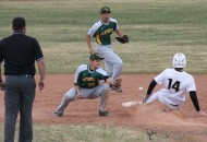 Robert Horner makes the slide into second for the stolen base as the ball gets away from Cameron Quintana during the district game with Pecos Tuesday afternoon