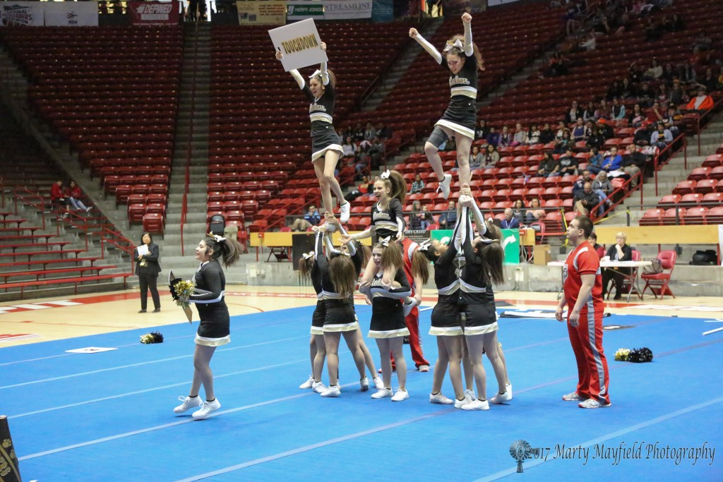 RHS Cheer in the PIT at UNM in Albuquerque at the State Spirit Competition Friday morning.