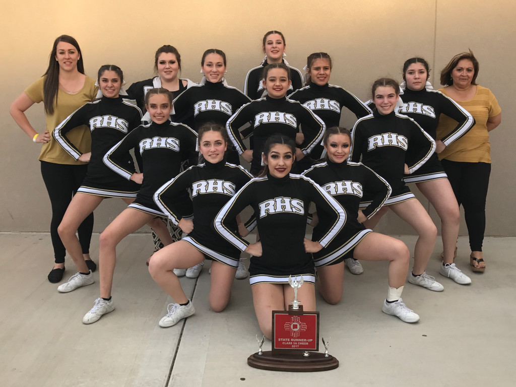 2nd Place RHS Cheer at the 2017 State Spirit Competition held in the PIT in Albuquerque. Alexia Marquez8th; Brianna Marquez Jr.; Frieda Barela Fr.; Gabreille Sanchez Jr.; Jennifer Acosta Fr.; Jimmie Mascarenas 8th; Joslin Mascarenas 8th; Justine Mascarenas So.; KayLee Maes 8th; Laynee Segura Fr.; Mia Maestas Sr.; Sarah Ware 8th