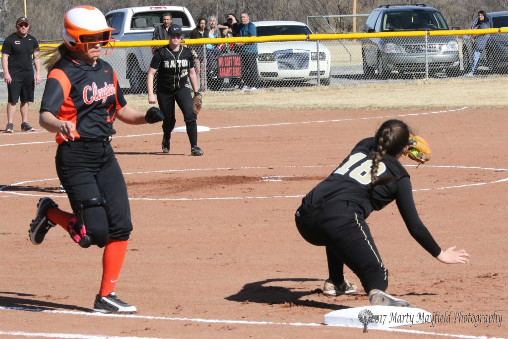 Out at first is Bri F. of Clayton as Halle Medina easily has the ball before she reaches first base Tuesday afternoon.