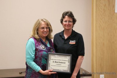 The Raton City Commission presented several Certificates of Appreciation to businesses for their work and accomplishments during the recent snow storm and power outage in Raton as part of the You Rock Award. This Certificate went to Gina Jackson of K-Bobs