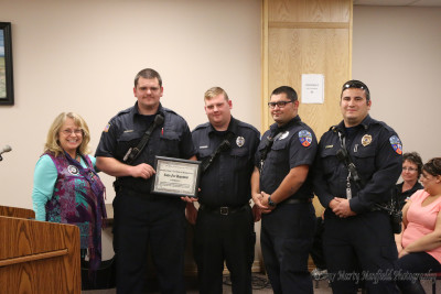 The Raton City Commission presented several Certificates of Appreciation to businesses for their work and accomplishments during the recent snow storm and power outage in Raton as part of the You Rock Award. This Certificate went to Raton Fire and Emergency Services Firefighter Doug Fredrickson, Firefighter Macinez Mann, Firefighter Richard Garcia and Captain Joe Herrera