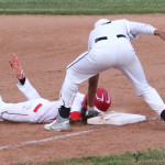 Jonathan Cabriales makes the tag at first, the call however was safe for Jorge Morales in the first pick off attempt of the game by Cole Medina