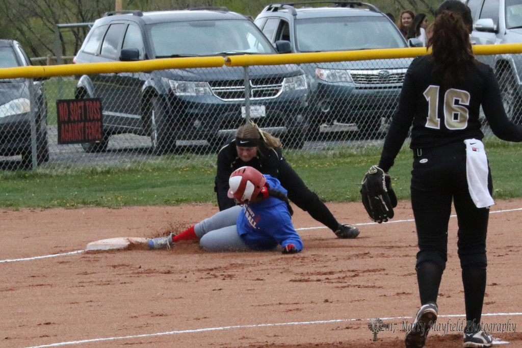 Jayden Walton makes the play at third as the Lady Tigers work their way to a 17-2 win over McCurdy Saturday afternoon