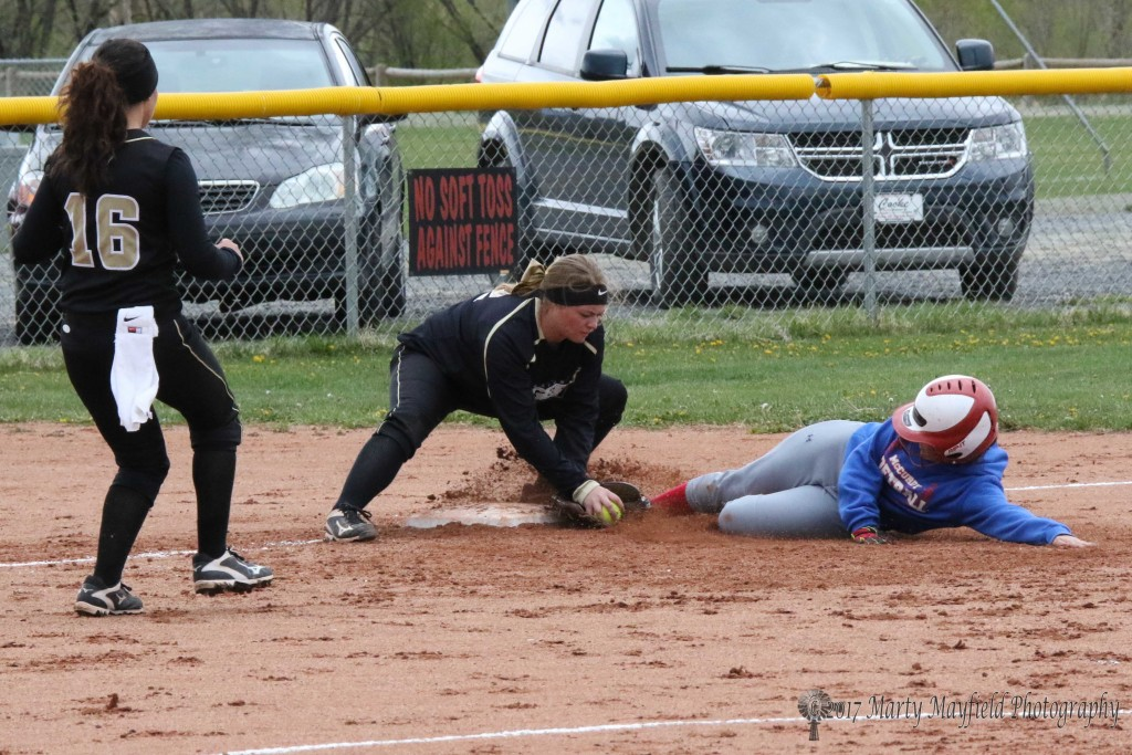Another tag out at third by Jayden Walton during the district game with McCurdy Saturday afternoon.