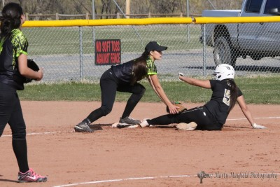 Sophia Madallini makes it safe to third as the Lady Tigers dominate the Lady Panthers Monday afternoon in Raton