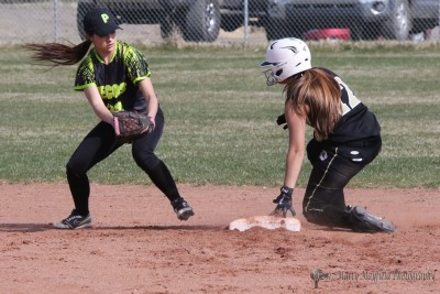 Another base stolen as Andie Ortega takes second in the district game with Pecos