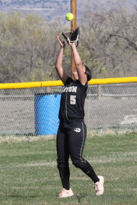 Short Stop Sophia Maddalini makes the grab in left field for another out as the Lady tigers take on the Pecos Lady Panthers in a district double header Monday afternoon.