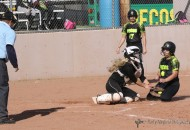 Camryn Stoecker makes the play at home as the Lady Tigers dominate the Lady Panthers in a district double header in Raton Monday afternoon